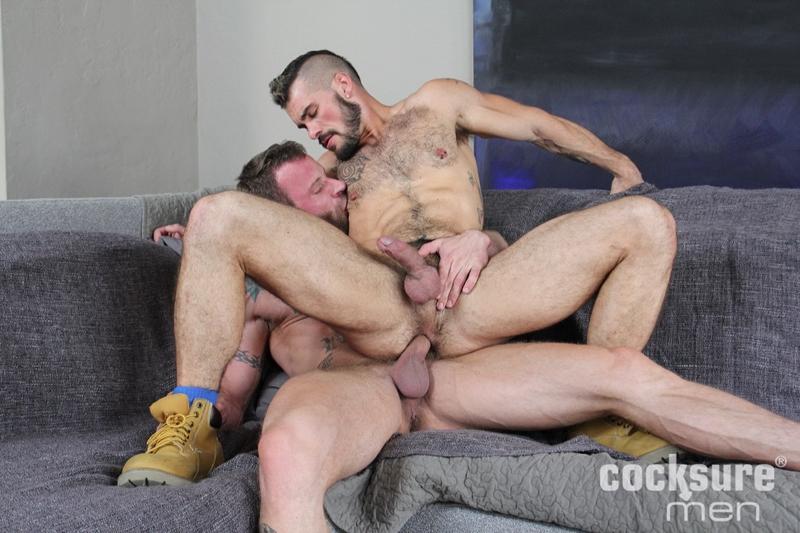 Derek Parker spreads Aarin Asker's butt cheeks feeling his hairy hole soon to be bareback fucked