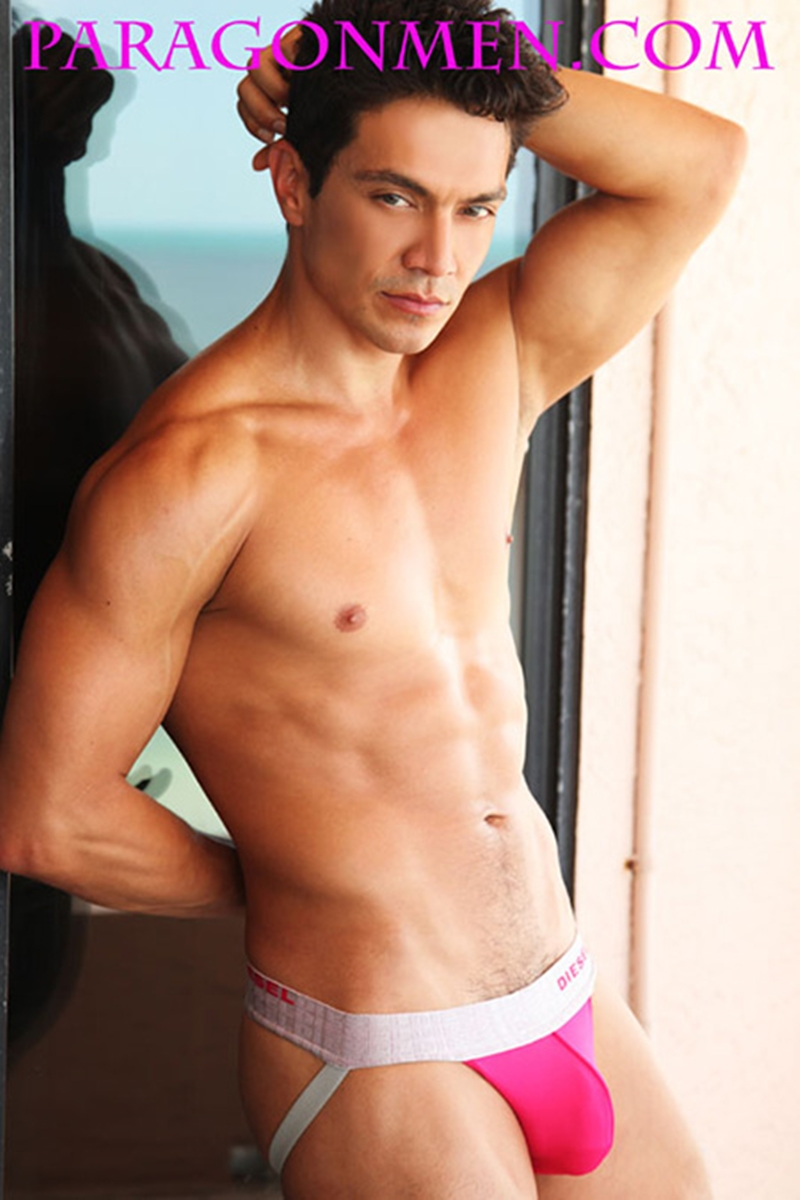 Paragon Men Rico Leone steps out of his jockstrap and jerks his hard cock