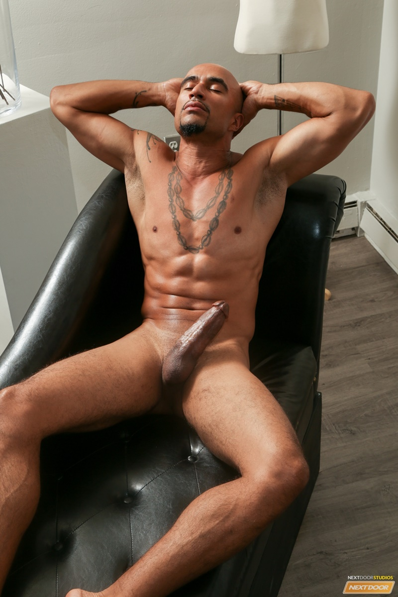Sexy ripped naked black dude King Noire jerks his huge thick ebony dick