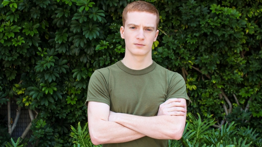 21 year old army boy recruit Rex Dixon strips and jerks out a huge cum load