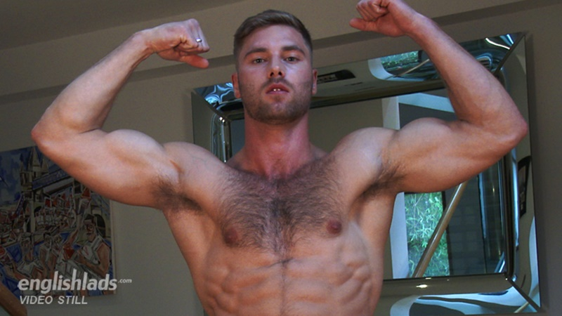 Hot ripped young lad Tom Lawson strips naked jerking his huge 7.5 inch uncut dick