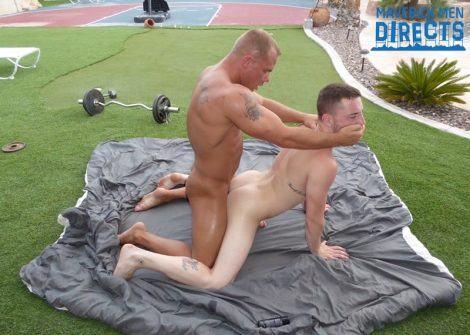 Caleb jumped down on his knees and gobbled Austin's fat cock and ate and licked his hole