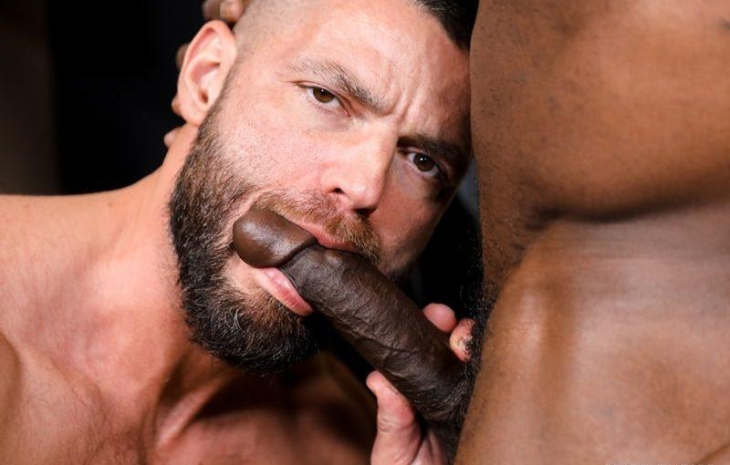 Aaron Trainer sucks Jake Morgan's huge cock before burying his tongue deep in Jake's hairy ass hole