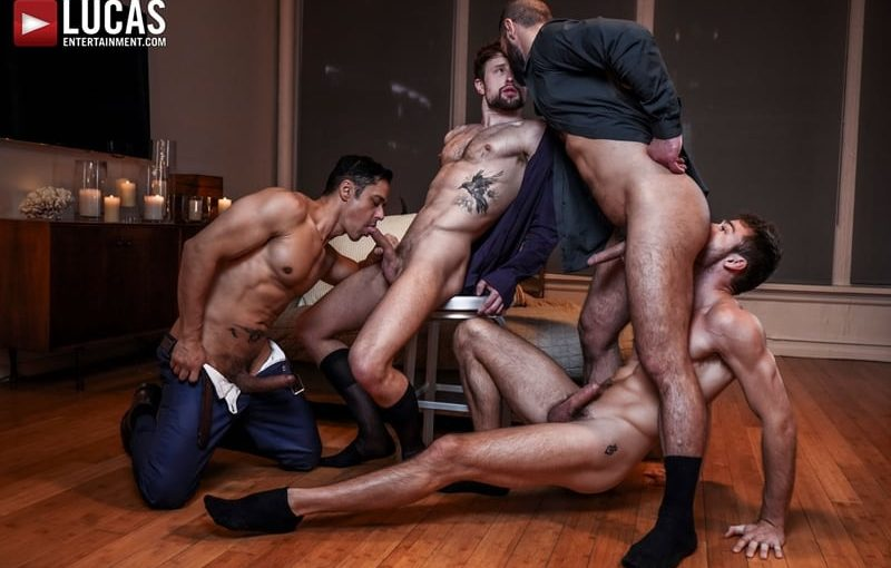 Hardcore ass fucking fuck fest with muscle dudes Rafael Alencar, Drew Dixon, Max Adonis and Jake Morgan