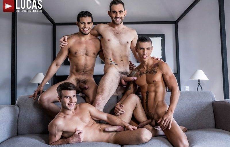 Four way barebacking anal with Max Arion, Allen King, Rico Marlon and Max Avila's huge raw dicks