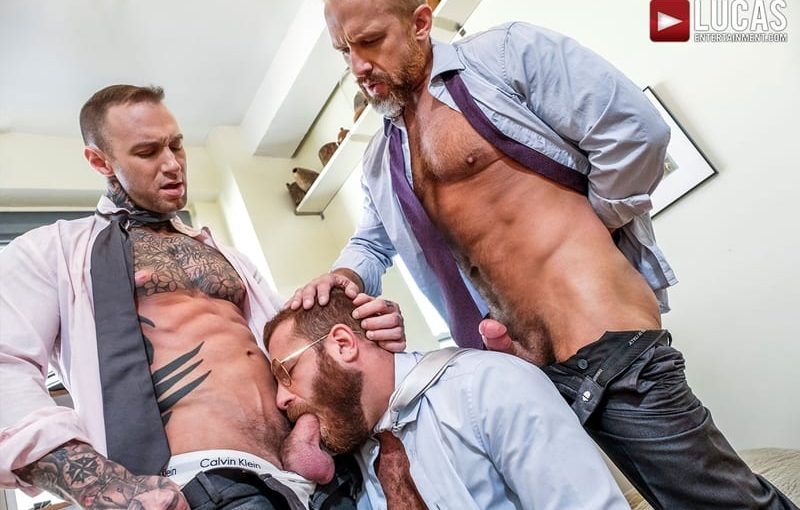 Riley Mitchel services his bosses Dylan James and Dirk Caber