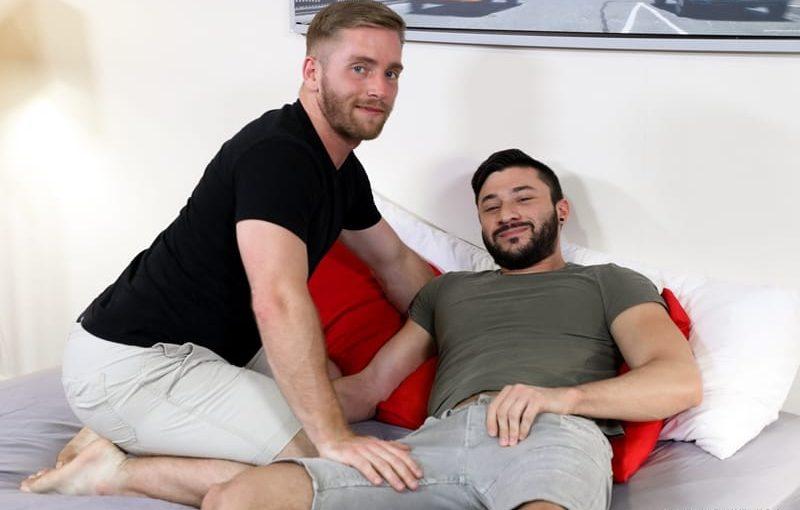 Scott Riley sucks Scott DeMarco's huge cock then climbs on top riding his cock deep in his ass