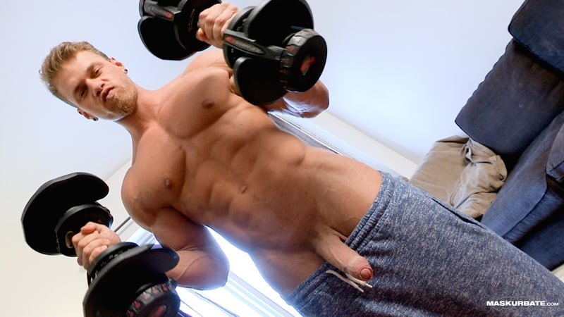 Big muscle man Maskurbate Brad strips naked jerking his huge uncut dick to a fountain of cum all over himself