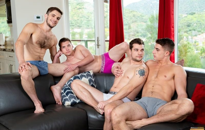 First time roomies Elye Black and Princeton Price hardcore gay sex orgy with Donte Thick and Zane Williams